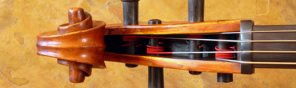 Overhead closeup of a cello pegbox